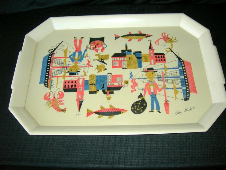 Vintage 1950's Plastic Serving Tray-Kelly Oechsli Art-Seafood/Nautical Designs by auntflorieshouse on Etsy https://www.etsy.com/listing/270423585/vintage-1950s-plastic-serving-tray-kelly