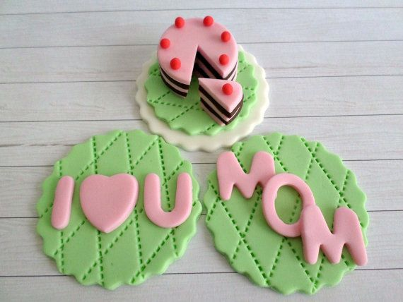 Mothers Day Cupcake Fondant Toppers Mom Heart Favors by LenasCakes, $25.95