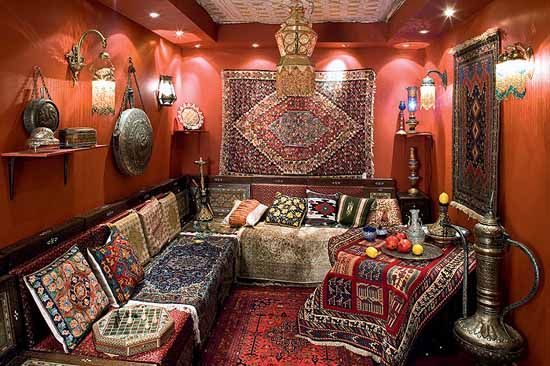 moroccan decor | Moroccan poufs, decorative cushions, curtains and Moroccan decorations ...