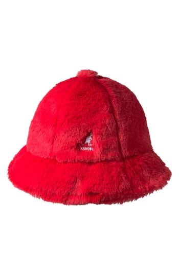 e31d5f513a4 KANGOL FAUX FUR CASUAL BUCKET HAT - RED.  kangol