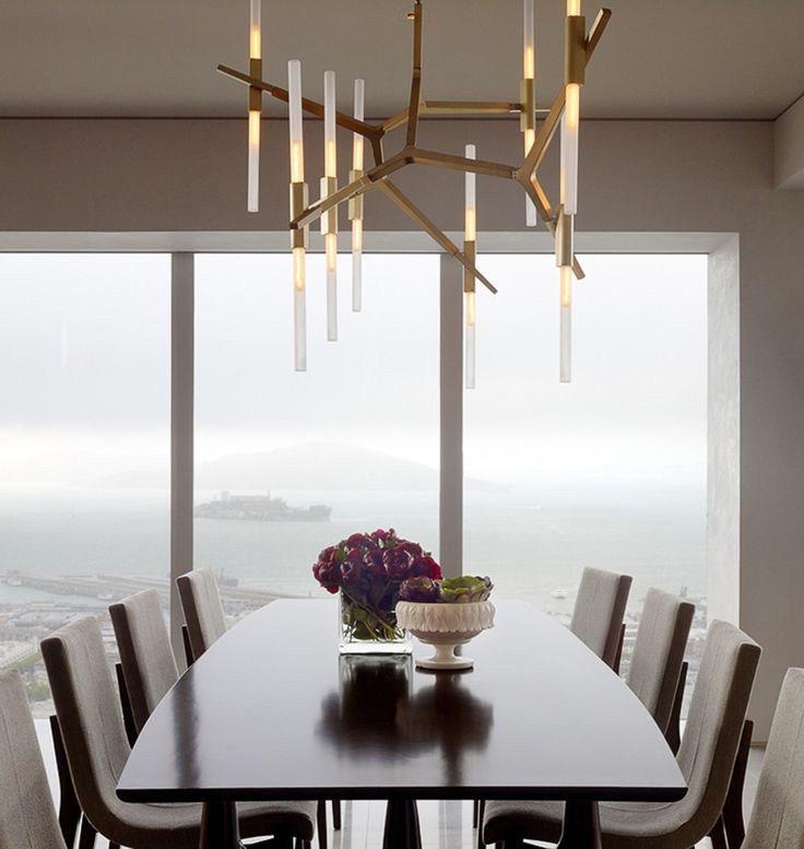 Agnes chandelier 20 bulbs in brushed brass photo by matthew millman interior design by jeffers design group