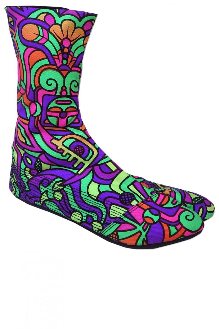 Ninja Boot : Rainbow Mayan Walk like a Ninja with these split toed cotton booties, based on traditional Japanese Jigatabe design. Perfect for dancing, circus and performing. Flat, grippy sole with split toe, made from latex.   Artwork by Adi