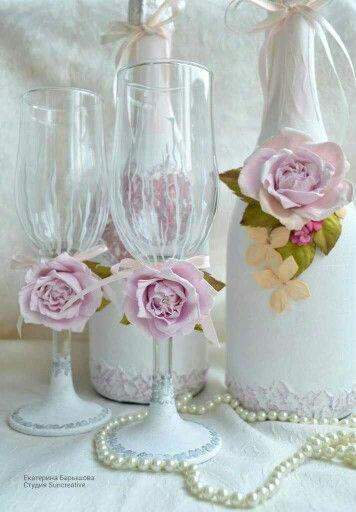 Оформление бокалов и шампанского на свадьбу!