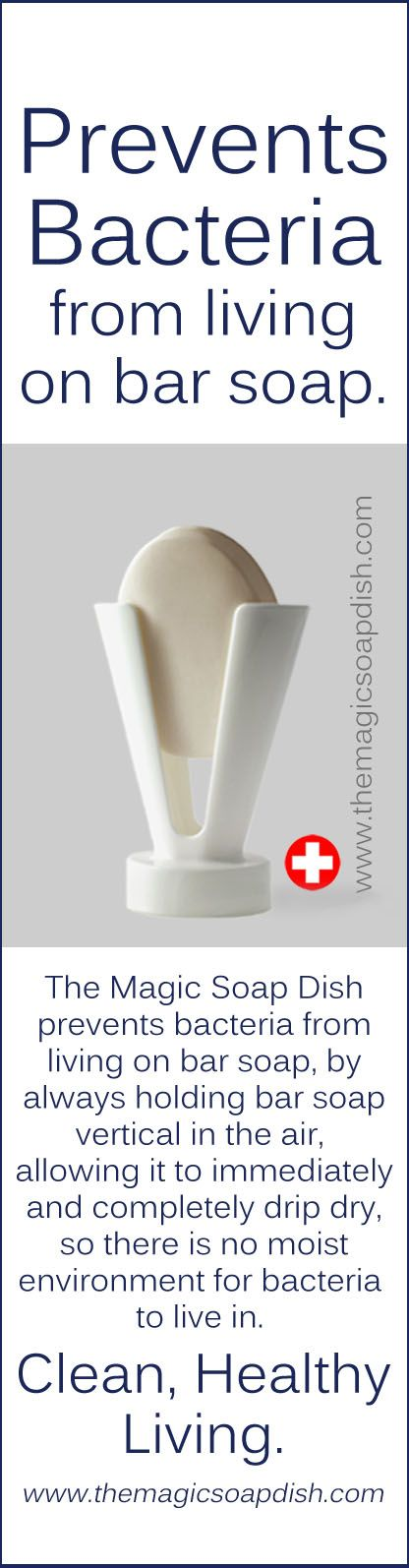 The Magic Soap Dish prevents bacteria from living on bar soap, by always holding bar soap vertical in the air, allowing it to immediately and completely drip dry, so there is no moist environment for bacteria to live in. #magic #bar #soap #dish
