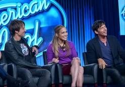 "Keith Urban, left, Jennifer Lopez and Harry Connick Jr. preview ""American Idol"" at the FOX Winter 2014 TCA on Monday. The producers of the show say the new season includes changes to freshen it, including an expanded song list for contestants."