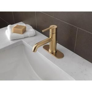 Delta Trinsic Single Hole Single-Handle Bathroom Faucet with Metal Pop-Up in Champagne Bronze 559LF-CZMPU at The Home Depot - Mobile