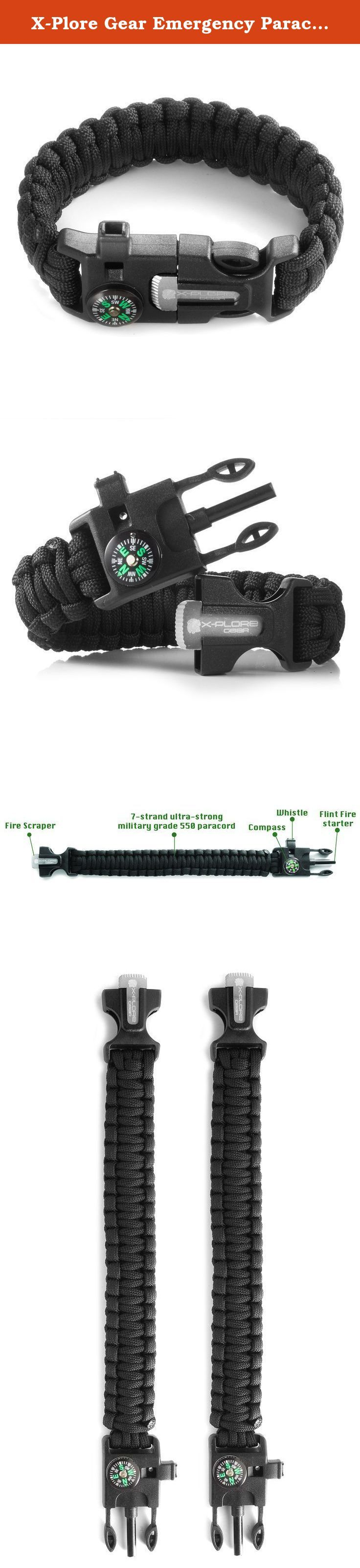 X-Plore Gear Emergency Paracord Bracelets   Set Of 2  The ULTIMATE Tactical Survival Gear  Flint Fire Starter, Whistle, Compass & Scraper/Knife  BEST Wilderness Survival-Kit -- Black(L)/Black(L). All The Survival Gear You Need, Packed In Our SA01 Paracord Bracelet! Now with X-Plore's paracord bracelet, you can enjoy having a 4 in 1 mini survival kit that can be carried around your wrist! Smart Design Our ultimate survival bracelet, is designed in a way that allows you to carry it with you...