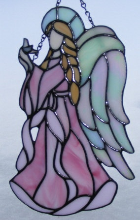 Stained Glass Angel  11 Tall  Hope 3 by StainedGlassElegance, $95.00