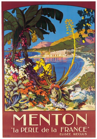 French Travel Ad Print - Menton