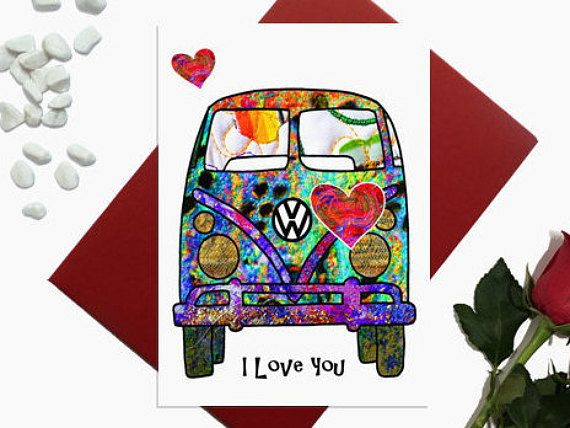 Valentine's day card  camper van with hearts  I Love you