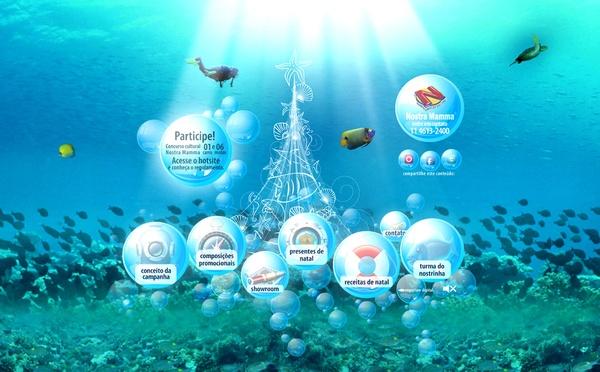 Hotsite da campanha Natal Nostra Mamma 2010, com enfoque no ecossistema marinho.