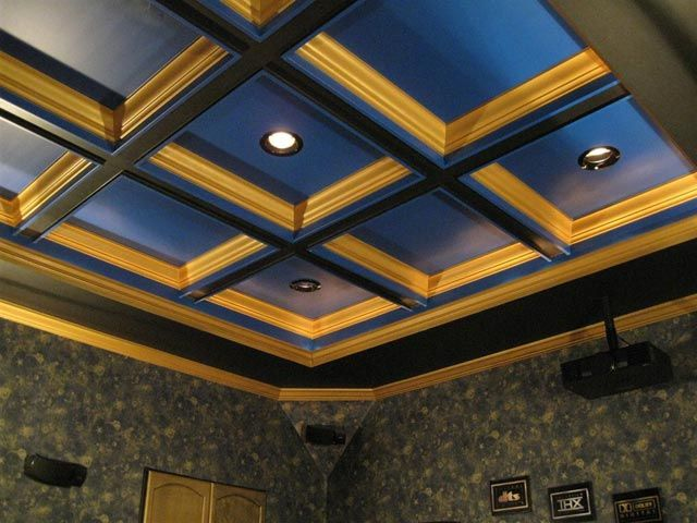 Painted Coffered Ceiling With Rope Lighting House