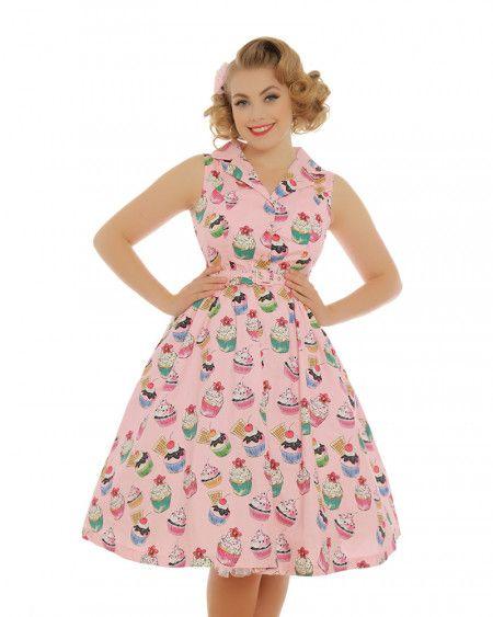 'Matilda' Pink Cupcakes Print Rockabilly Shirt Dress