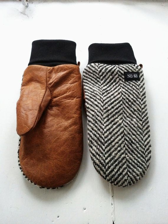 Herringbone wool and tan leather mittens for men and door System63