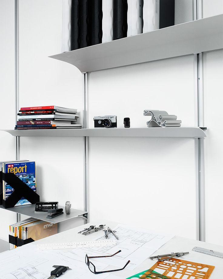 Nonuform office shelves in white