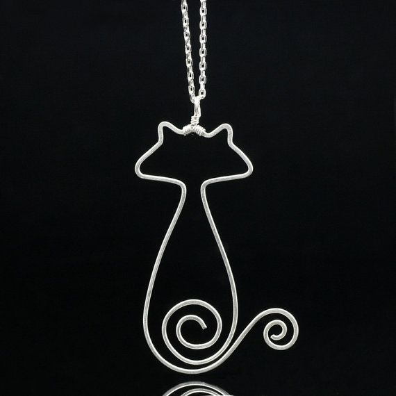 Sterling silver cat pandant necklace handmade by AnniDesignsllc, $46.00