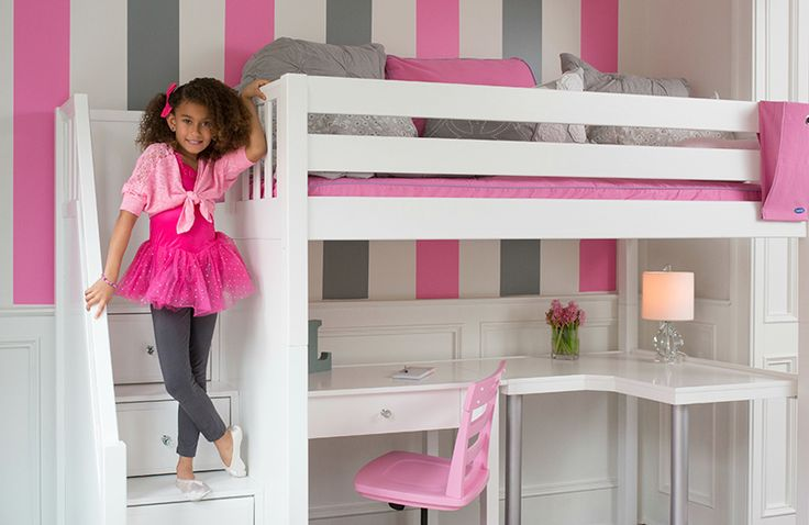 High Loft Bed by Maxtrix Furniture. Many options to choose from! Choose the loft bed and the desk and much more!  Maxtrix Beds are modular, and can be reconfigured by add/removing attachments.  Made of solid Maple Wood.