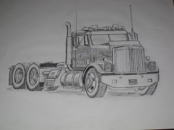 My Brother S Pencil Drawing Of A Truck Drawing Painting