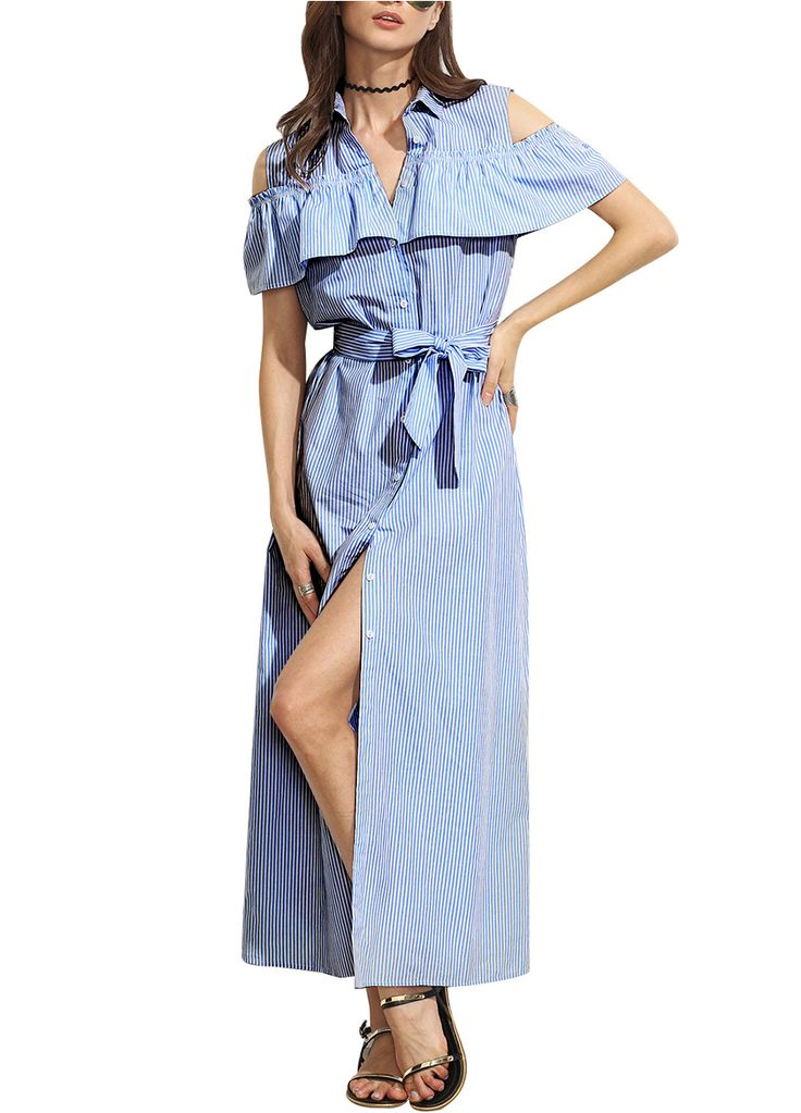 Stylish Stripes Ruffle Cold Shoulder Belted Button Down Maxi Dress_Maxi Dress_Dresses_Sexy Lingeire | Cheap Plus Size Lingerie At Wholesale Price | Feelovely.com