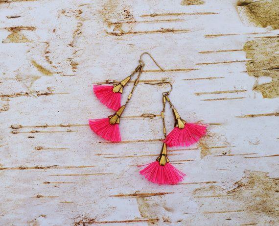 SALE Bright Pink Tassel Earrings Bohemian by EllaHandmadeUnuque