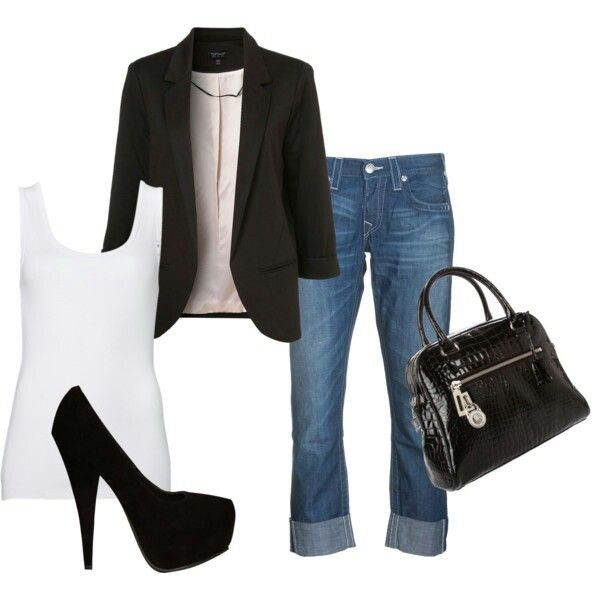 Un look casual con el lindo toque del saco y tacones negros