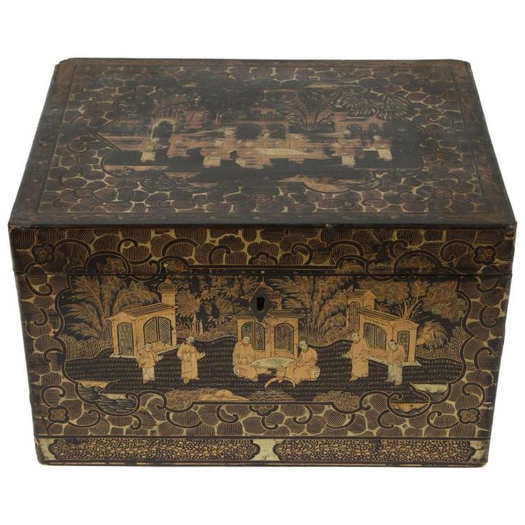 Large Chinese Export Black and Gilt Lacquer Tea Box, circa 1830   From a unique collection of antique and modern more asian art, objects and furniture at https://www.1stdibs.com/furniture/asian-art-furniture/more-asian-art-furniture/