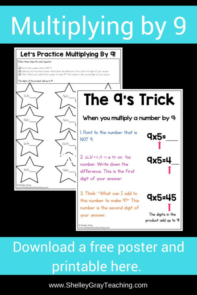 This is a great trick for the 9 times tables that makes multiplying by 9 easy and efficient. Download this free poster to display in your classroom, and use the activity sheet for your students to practice this trick.