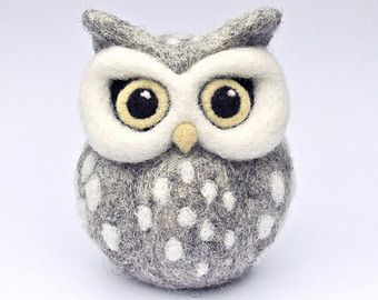 CUSTOM needle felted OWL sculpture soft sculpture grey owl ornament spotty felted owl grey owl white dots yellow beak