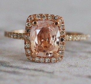 Peach sapphire. Rose gold. Gorgeous.: Peaches Champagne Sapphire, Rosegold, Diamonds Rings, Roses, Jewelry, Pink Diamonds, Rose Gold Rings, Peaches Sapphire, Engagement Rings