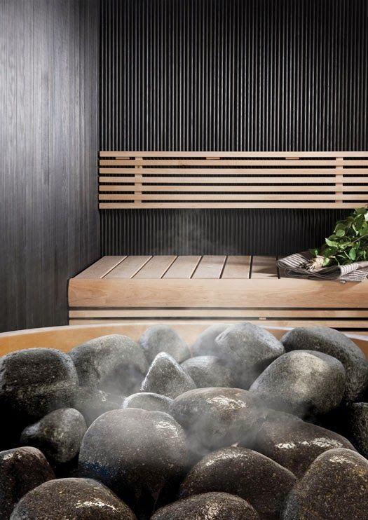 Hauska uutuus saunan viimeistelyyn: värilliset pyöristetyt Cello-kiuaskivet. Mustat, punaiset, vihreät ja graniitin harmaat; käytetään tav...