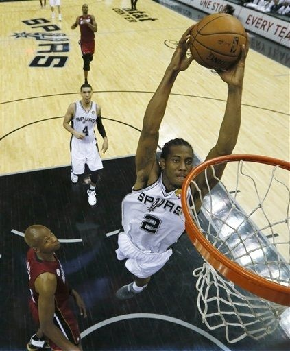 Kawhi soars for a dunk. (June 11, 2013 | NBA Finals 2013 | Game 3 | Miami Heat @ San Antonio Spurs | AT Center in San Antonio, Texas)