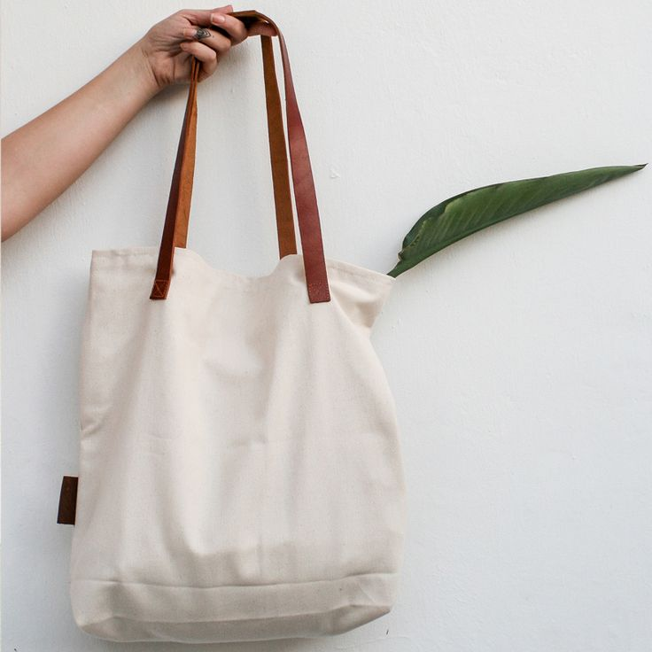 Tote Bag with Leather Detail    CREAM
