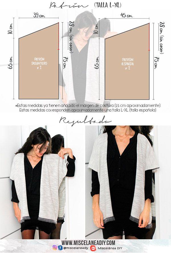 PATRÓN / MOLDE TALLA L-XL para haces esta chaqueta-poncho ...