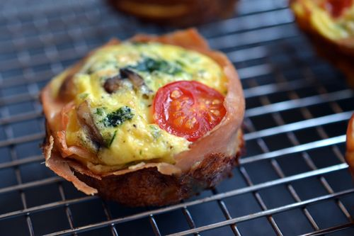 Such a clever idea for breakfast! Prosciutto Wrapped Mini Frittata.    Oh my were these good! Quite filling too (I had two of them for dinner and wasn't hungry for the rest of the night). The tomato cherry gets a bit sweet. So good!