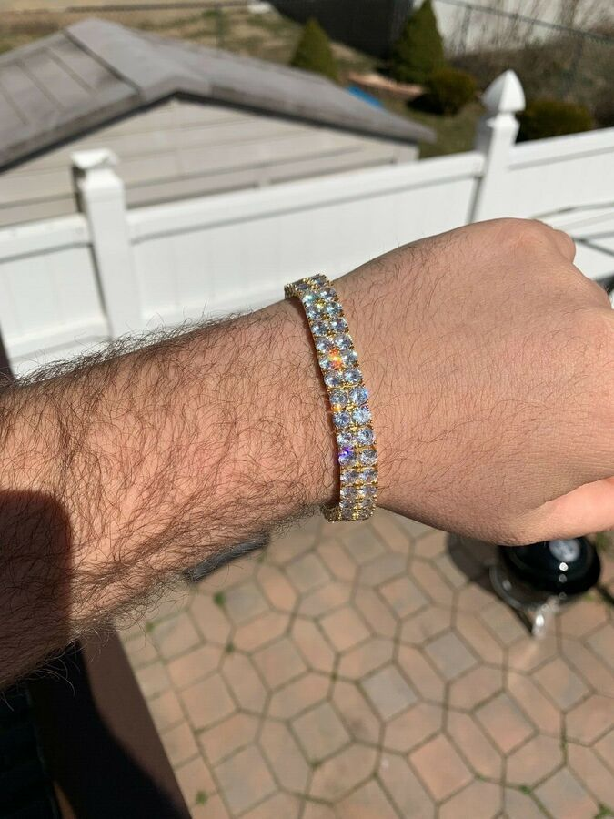 Mens 10mm Thick Two Row Tennis Bracelet Solid 925 Silver 6 9 Iced Out Diamonds Ad Sponsored Thick Row Tennis Tennis Bracelet Bracelets 925 Silver