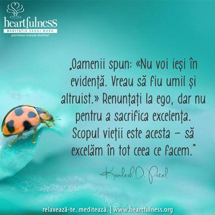 """""""Oamenii spun: «Nu voi ieși în evidență. Vreau să fiu umil și altruist.» Renunțați la ego, dar nu pentru a sacrifica excelența. Scopul vieții este acesta – să excelăm în tot ceea ce facem."""" ~ Kamlesh D Patel #heartfulness   #inspiratii_zilnice   #hfnro  Heartfulness Romania - Google+"""