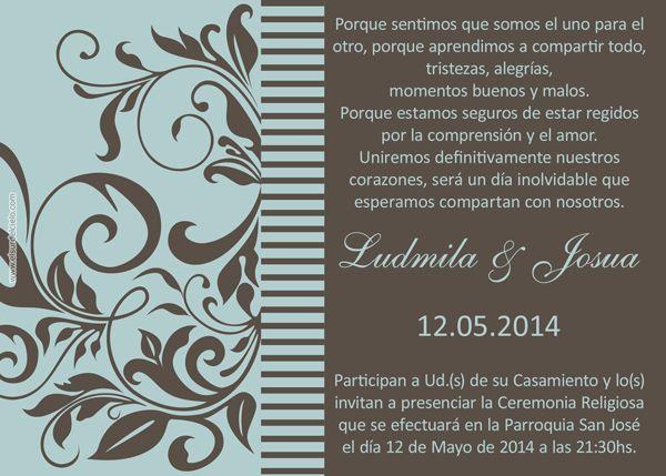 Wedding invitations. Tarjetas invitaciones para boda disponibles en http://www.elsurdelcielo.com