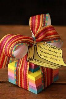 Teacher gift ideas: Teacher Gifts, Teacher Appreciation, Teachers Gift, Teachers Appreciation Weeks, Teachers Appreciation Gift, Giftideas, Gift Ideas, Diy Gift, Sticky Note