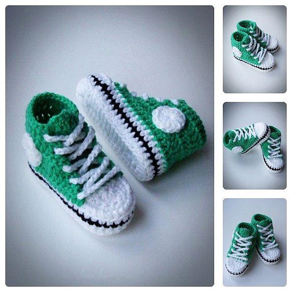 Verde zapatillas de bebé del ganchillo zapatos por DolcelinaShop