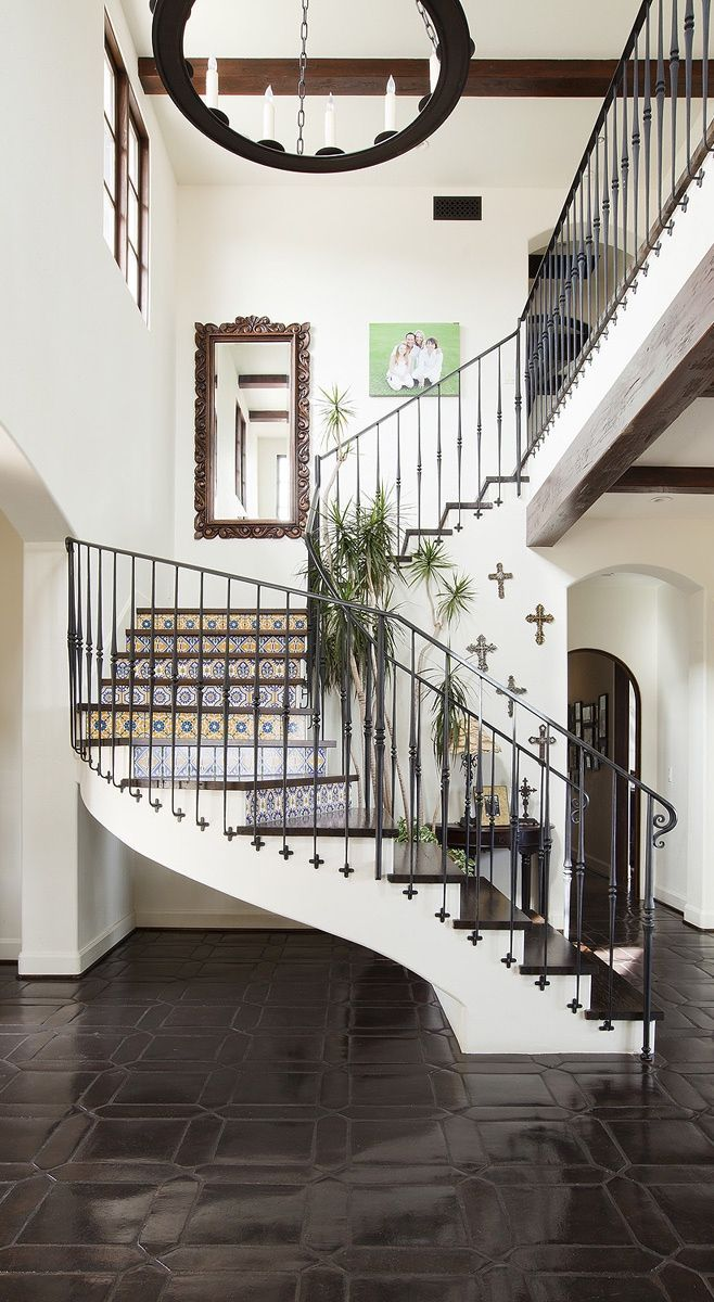 Fabulous Staircase With Wrought Iron Accents And Mixed