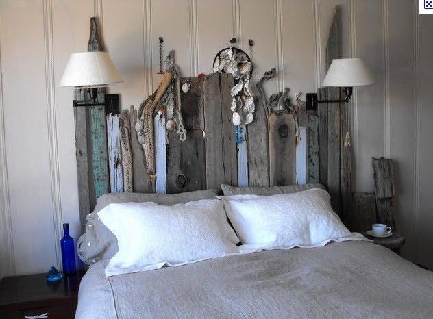 Beachwood headboard bedroom rustic do it yourself - Chambre bois flotte ...