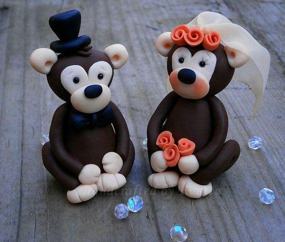 Monkey Wedding topper by EviJewelry on Etsy