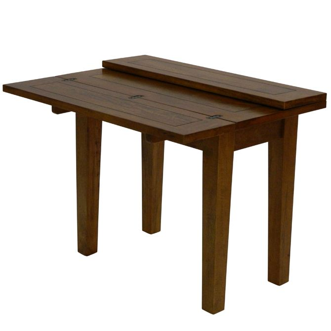 Naturally Timber 'Santa Fe' flip-top dining table - 4-seat, open three-quarter view