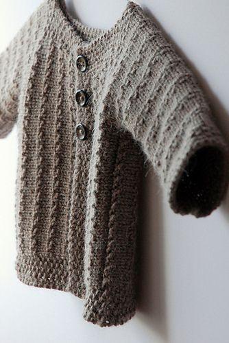 Sideways knit baby cardigan