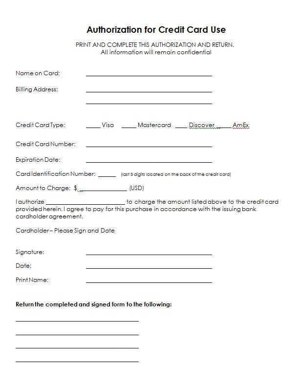 Authorization For Credit Card Use Free Authorization Forms - work authorization form