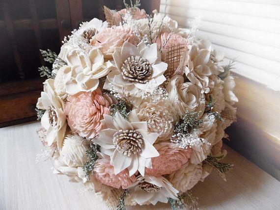 Blush Pink Hair Flower Or Brooch Bridal Wedding: Rustic Blush Pink Wedding Bouquet, Sola Flowers, Burlap