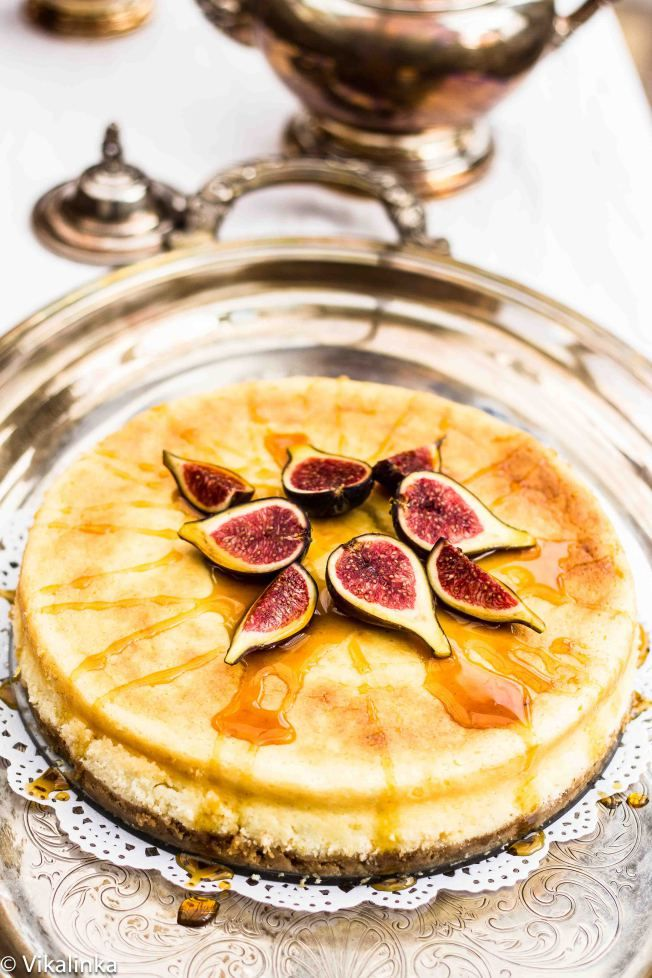 Lemon Vanilla Cheesecake with Figs and Honey.  Nothing healthy about this but possibly a decadent Easter dessert.