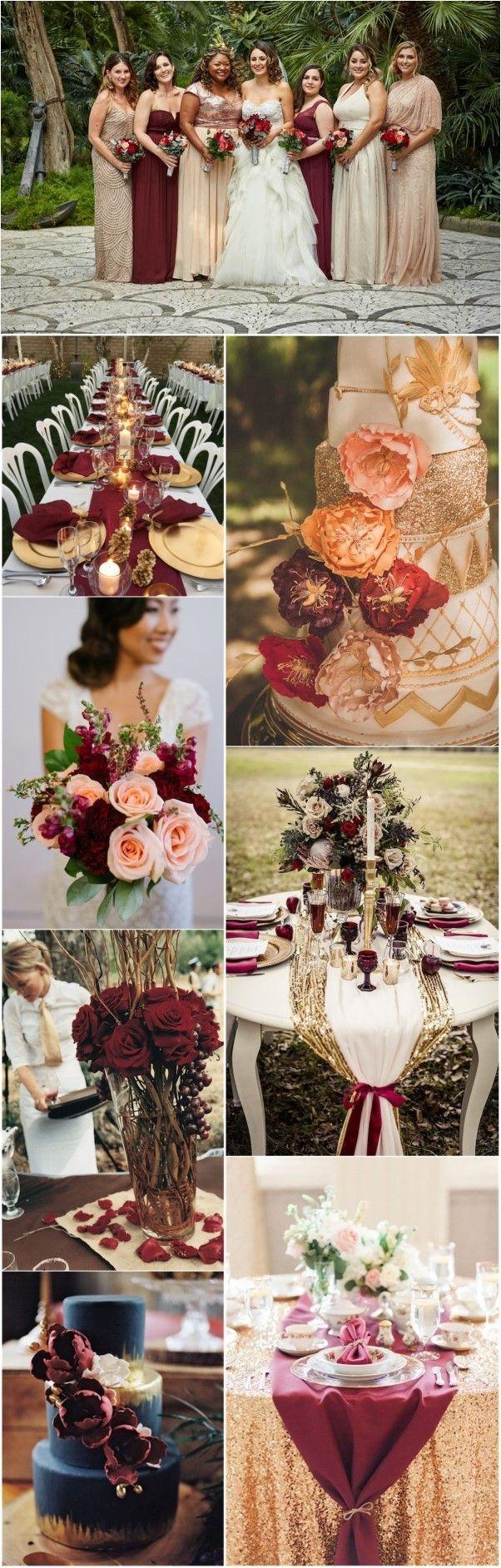 22 Romantic Burgundy and Rose Gold Fall Wedding Ideas | Pinterest ...