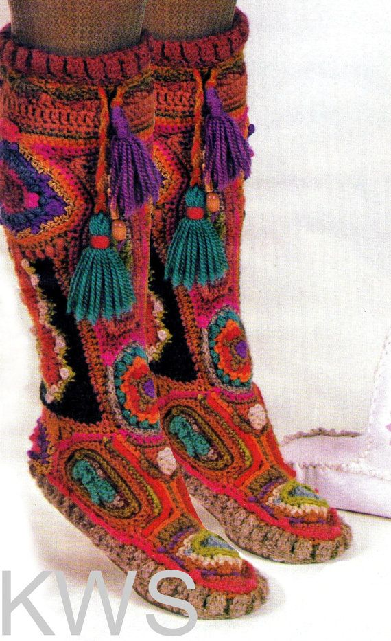 INSTANT DOWNLOAD -  Vintage Retro 70s Hippie Crochet Freeform Boots - PDF Pattern Retro - ECO Footwear  *** Please Note: This listing is for the