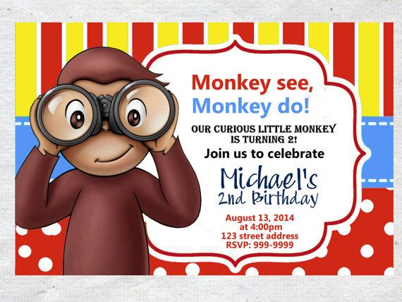 Curious George Birthday Invitation Invite Chalkboard Chevron Pattern Curious George invitation